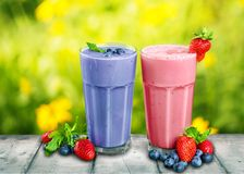 Fruit banana yogurt drink Royalty Free Stock Images