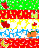 Fruit banner. Illustration of five colored banners and decorated with different fruit Stock Photography