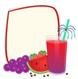 Fruit Banner. Blank banner with grapes, watermelon, strawberries and a smoothie. Eps10 Royalty Free Stock Photography