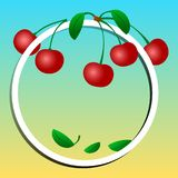 Fruit banner, cherries on frame. Vector illustration stock illustration
