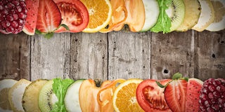 Fruit banner on wood background Stock Photography