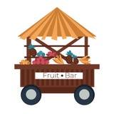 Fruit bar cart stall banana and pineapple pomegranate and oranges. Beach food cart fruit bar stall banana and pineapple pomegranate and oranges isolated vector vector illustration
