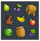 Fruit and barrel Stock Photography