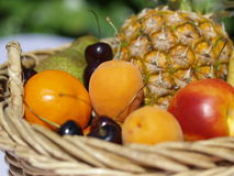Fruit basket. With oranges, apples, pineapple, pear and cherries Royalty Free Stock Photos