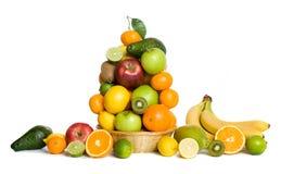 Fruit basket. Citrus and tropical fruit basket isolated on white background Stock Photo