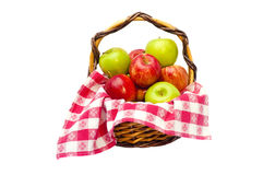 Fruit in a basket. Fresh fruit in a basket isolated on a white background Stock Images