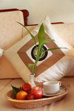 Fruit basket. In a hotel room royalty free stock images