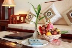 Fruit basket. Ina hotel room Royalty Free Stock Photography