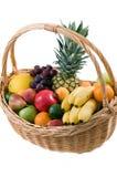 Fruit basket. Fresh fruit in the basket isolated on white background Stock Photos