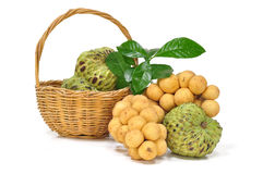 Fruit basket. Custard apple and Longong in the fruit basket Royalty Free Stock Photography