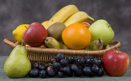 Fruit Basket 2. Assorted Fruits in a basket royalty free stock photos