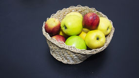 Fruit basket. On  gray stock photo
