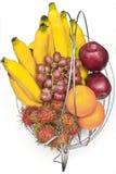 Fruit in basket. Tropical fruit in steel basket Stock Photo