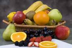 Fruit Basket 3. Assorted fruits in a basket stock photography