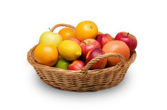 Fruit basket. A basket full of all kinds of fruits Royalty Free Stock Image