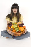 Fruit basket. Teenager with fruit basket before white background Royalty Free Stock Photography