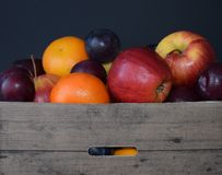 Fruit basket with apple, orangen and plum. Basket with apple, orangen and plum Stock Photo