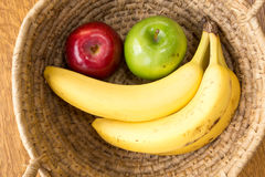 Fruit Basket. A basket of fruit with apples and bananas Royalty Free Stock Images