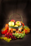 Fruit Basket of Apples, Grapes, Pumpkins and Fall Leaves Royalty Free Stock Images