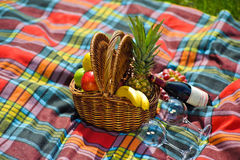 Fruit basket, a bottle of wine Royalty Free Stock Photos