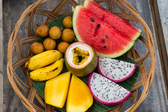 Fruit basket for breakfast in Vietnam Stock Images