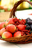 Fruit basket on display Stock Images