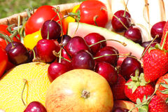Fruit basket, fruit harvest Royalty Free Stock Images