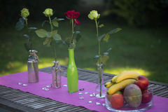 Fruit basket on a garden table with roses Royalty Free Stock Images