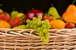 Fruit Basket, Grapes, Apples, Pears Royalty Free Stock Photography