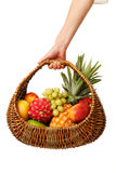 Fruit basket in hand. stock photography