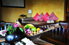 Fruit basket in hotel room Royalty Free Stock Images