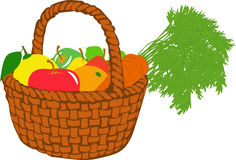 Fruit basket,  illustrations Stock Photography