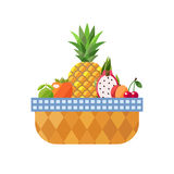 Fruit basket isolated (lime, persimmon, pineapple, dragon fruit, peach and cherry).  Modern flat design. Stock Photography