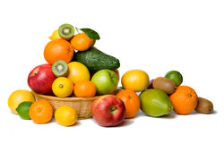 Fruit basket isolated on white Stock Photos
