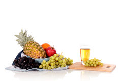 Fruit basket juice Royalty Free Stock Photos
