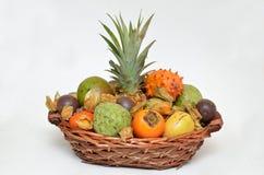 Fruit basket, mixed fruits Stock Image