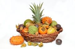 Fruit basket, mixed fruits Stock Photography