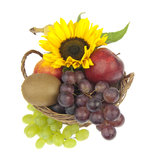 Fruit basket ornate with sunflower Royalty Free Stock Image