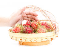 Fruit basket of rambutan and human hand on a white table. Royalty Free Stock Photography
