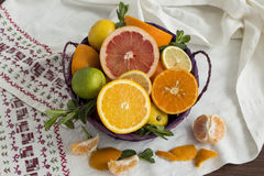 Fruit basket on a towel Stock Photo