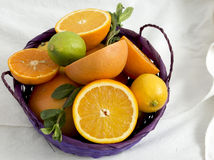 Fruit basket on a towel Royalty Free Stock Image