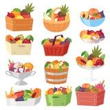 Fruit basket vector fruity apple banana and exotic papaya in box illustration fruitful set juicy orange with fresh. Slices of tropical dragonfruit in bowl Stock Images