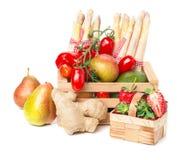 Fruit basket, vegetable crate Stock Photo