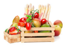 Fruit basket, vegetable crate Royalty Free Stock Images