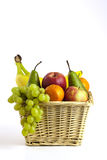 Fruit Basket. View of a basket of fruit on a white background Stock Photos