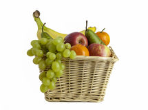 Fruit Basket. View of a basket of fruit on a white background Stock Images