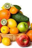 Fruit basket on white background Royalty Free Stock Photography