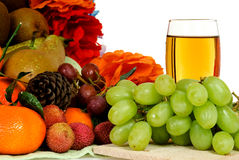 Fruit basket, white grape juice Royalty Free Stock Photo