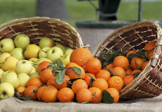 Fruit Baskets. Some fruit baskets with oranges and apples Royalty Free Stock Image