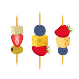 Fruit, berries canapes. Snack, appetizer for restaurants, buffet. Flat style. Fruit, berries canapes. Snack, appetizer for restaurants, buffet. Cartoon flat Royalty Free Stock Images